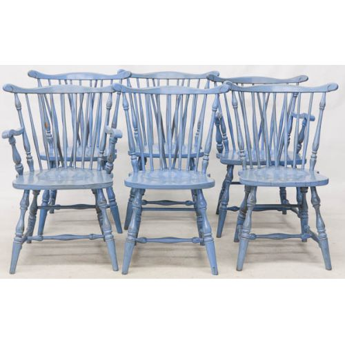 Distressed Blue Painted Chairs (6pcs) (2) Arm (4) Side
