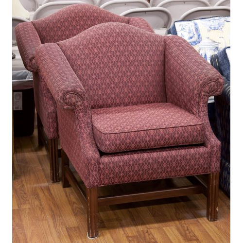 Dark Red Patterned Upholstered Chair (2pcs)