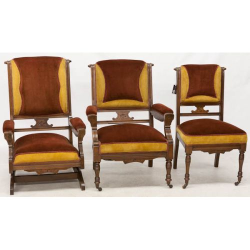 Set of Rust & Orange Upholstered Chairs with Rocker (3pcs)
