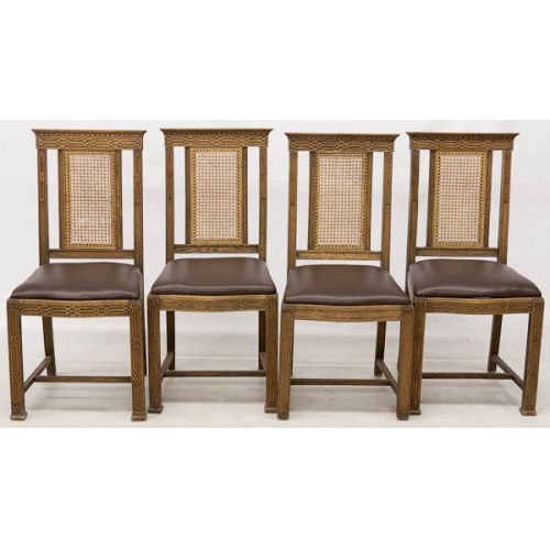 Cane Back Upholstered Seat Chairs (4pcs)