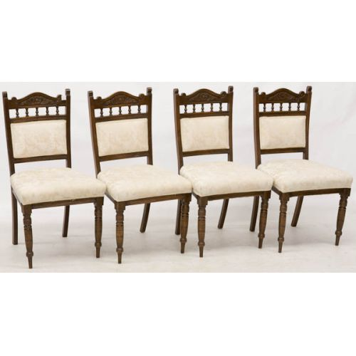 Wooden Chairs with Light Upholstered Backs & Seats (4pcs)