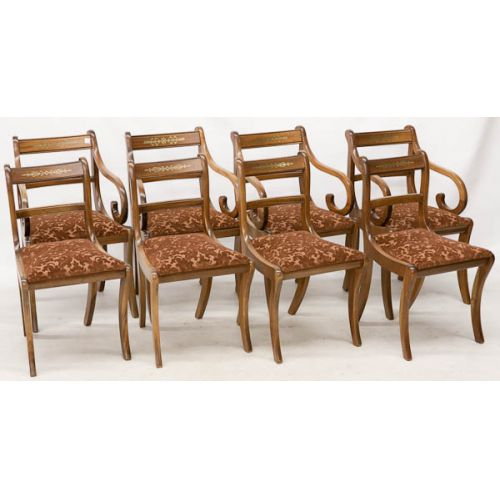 Wooden Arm Chairs with Rust Upholstery (8pcs)