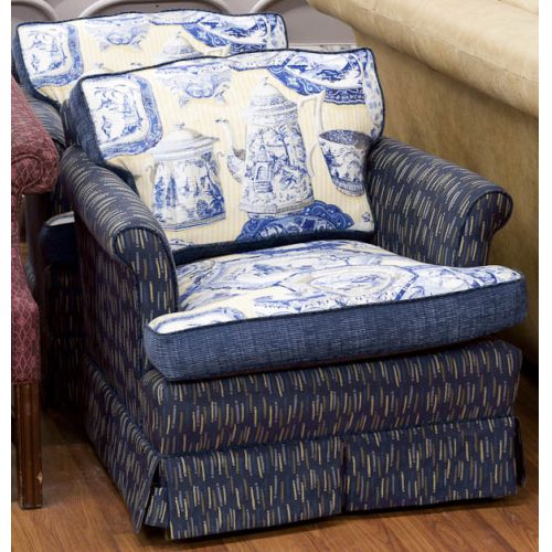 Blue & Yellow Upholstered Chairs (2pcs)
