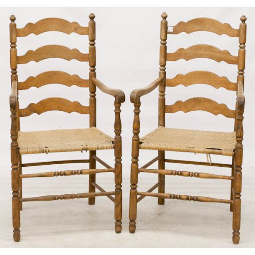 Maple Ladder Back Chairs with Woven Rush Seat (2pcs)