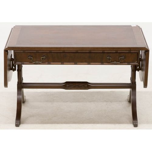 Drop Leaf Coffee Table with Leather Insert Top & Drawer