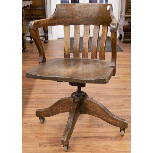 Oak Office Chair on Rollers