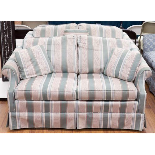 Pair of Striped Love Seats