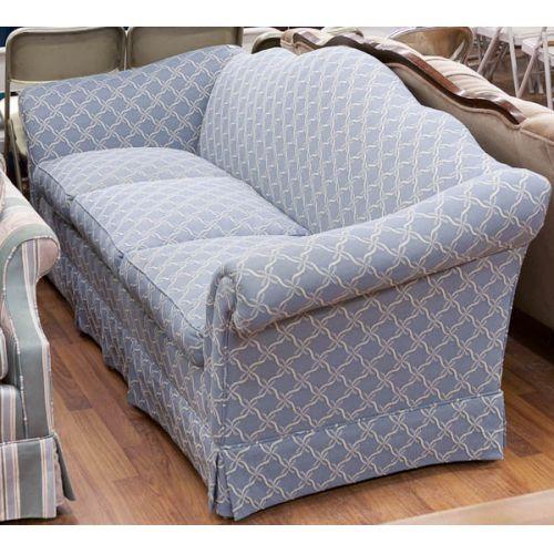 Blue Upholstered Camel Back Couch