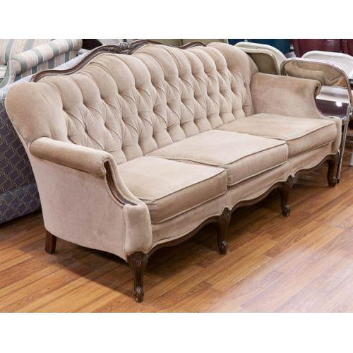 Mauve Velvet Upholstered Wooden Framed Couch