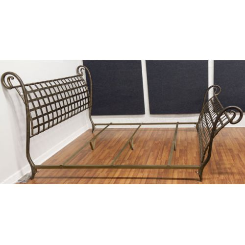 King Size Metal Sleigh Bed with Rails & Supports
