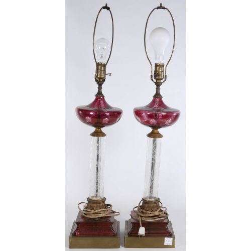 Cut Clear & Red Glass Table Lamps
