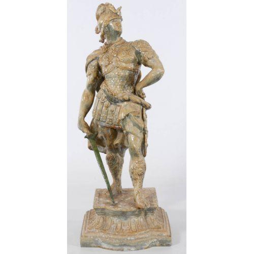Roman Soldier Pot Metal Statue