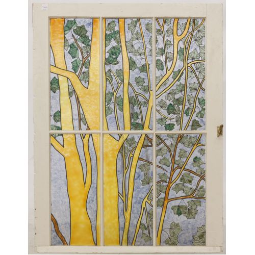 Faux Stained Glass Window with Tree Design