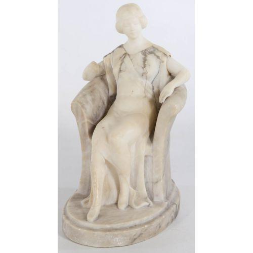 Art Deco Seated Lady in Chair Carved from Alabaster