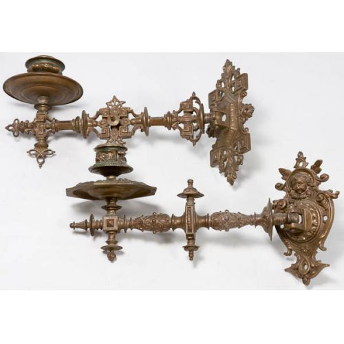 Pair of Ornate Brass Wall Hanging Candle Holders