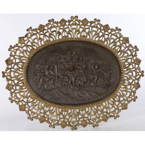 Ornate Oval Brass Wall Hanging