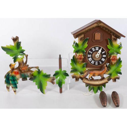 West Germany Cuckoo Clock with Bird, Fox & Grape Motif