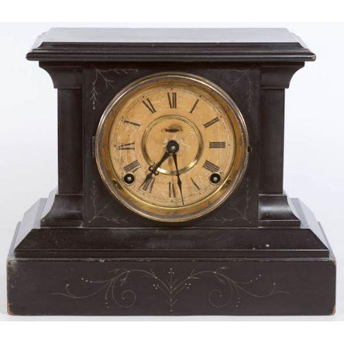 """Ingram """"Aldine"""" 8-Day Mantle Clock in Wooden Case"""
