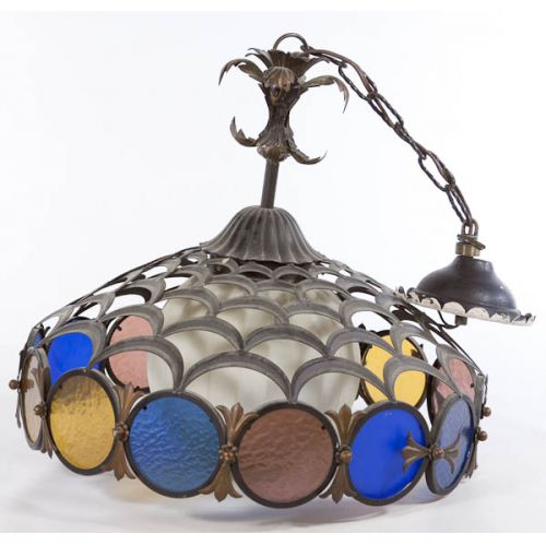 Metal & Stained Glass Ceiling Fixture