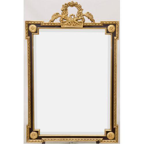 Gold Leaf Framed Beveled Mirror with Black Border