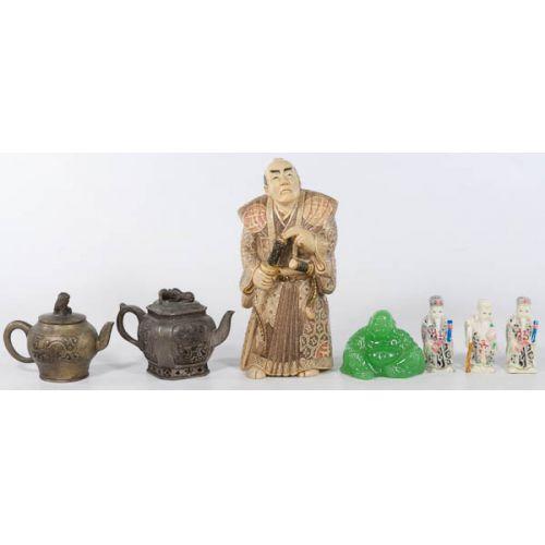 Oriental Figurines, Buddha with Small Metal Tea Pots