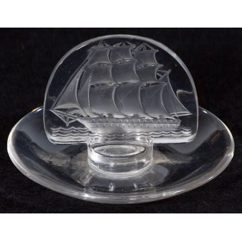 Lalique France Glass Ash Tray with Etched Sailing Ship