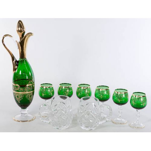 Green Flash Cordial Set with Gold Trim & Etched Glass Mugs