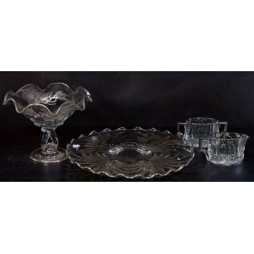 Clear Glass with Silver Overlay Console Bowl & Underplate