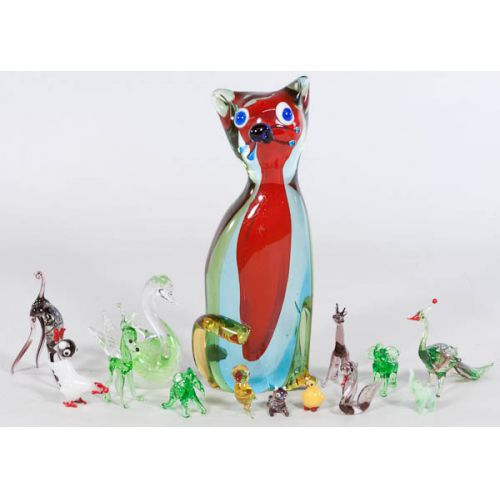 Collection of Colored Glass Animal Figurines