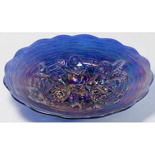 "Northwood Electric Blue ""Rose Show"" Carnival Glass Plate"