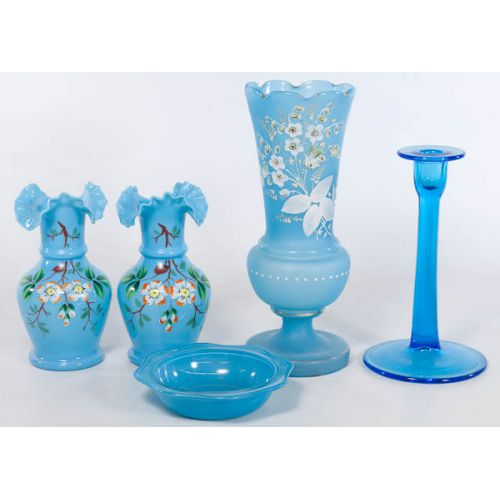 Blue Bristol-style Glass with Bowl & Candlestick