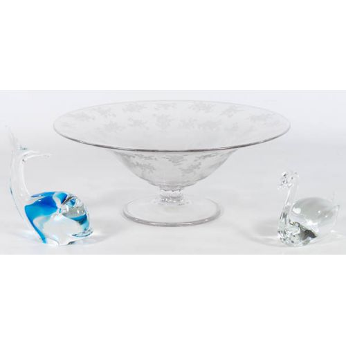 Etched Center Bowl with (2) Paperweights