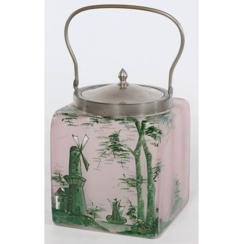 Lidded Glass Biscuit Jar with Hand Painted Windmill