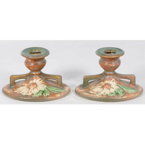 Pair of Roseville Dahlrose Candle Sticks c1928