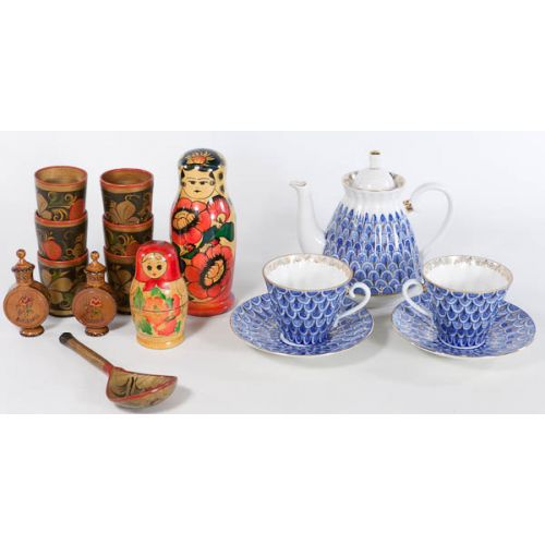 Lomonosov Tea-for Two with Wooden Russian Items
