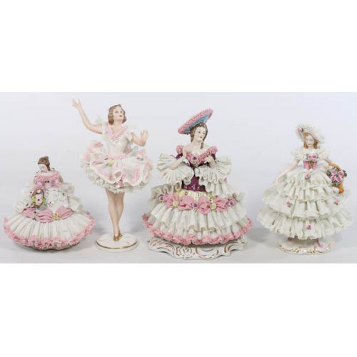 Group of Dresden & German Porcelain Lace Lady Figurines