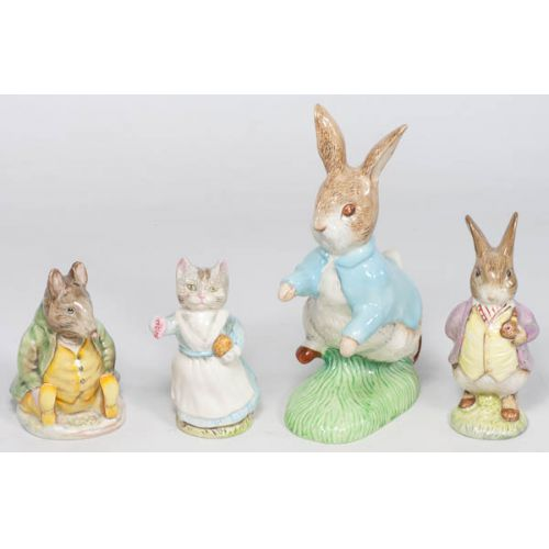 Collection of Beatrix Potter Animal Figurines (4 Pieces)