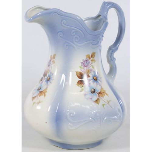 Contemporary R S Prussia Pitcher with Blue Design