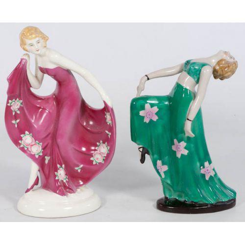 Pair of Made in Japan Ceramic Deco Lady Figurines