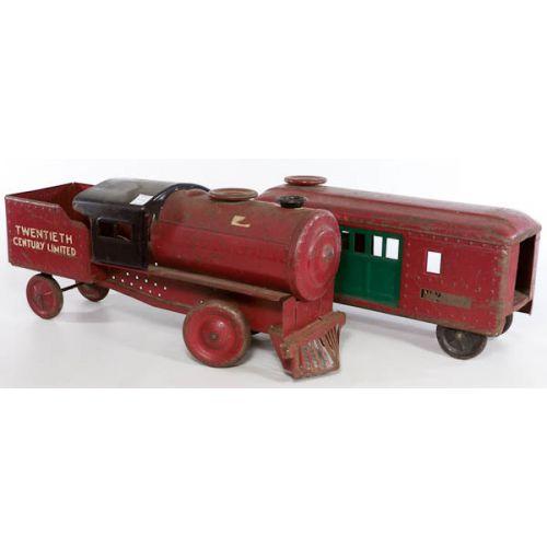 Twentieth Century Limited Ride-on Pressed Steel Train (2pcs)