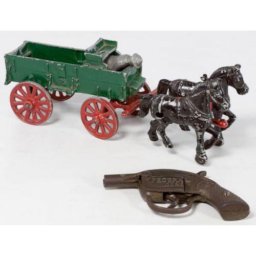 Federal Kilgore Cap Gun with Cast Aluminum Horse & Wagon with Driver