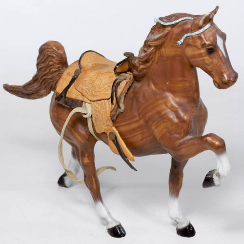 Breyer Tenite Acetate Wood Grain Horse with Leather Saddle