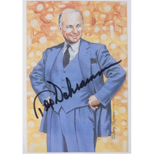 Tex Schramm Signed Goal Line Art Card with JSA Authentication