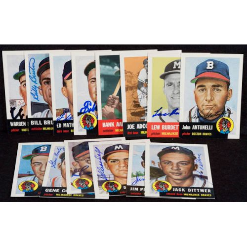 1953 Topps Archives 14 Card Lot All Signed Aaron, Spahn, Mathews with JSA Authentication