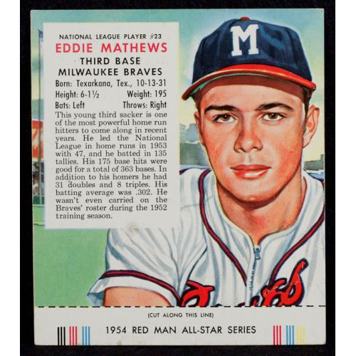 1954 Eddie Matthews Red Man Tobacco Card with Tab