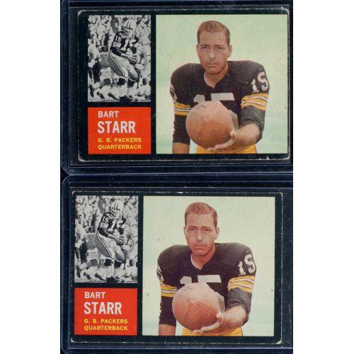 (2) 1962 Topps Bart Starr #63 Shortprint Football Cards