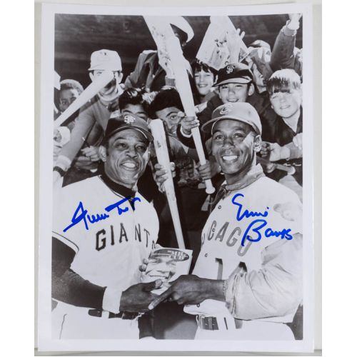 Willie Mays and Ernie Banks Signed Photo with JSA Certification