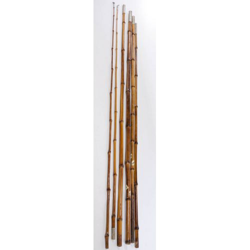 Pair of Three Piece Bamboo Fishing Poles