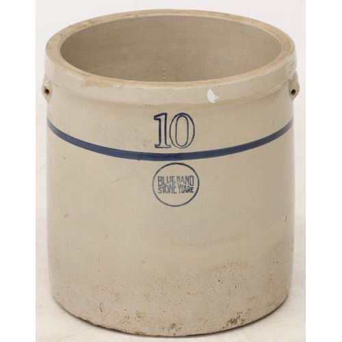 Blue Band Stoneware 10 Gallon Pottery Crock