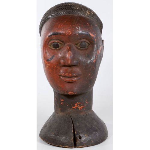 African Carved Bust of Man